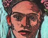 Original Color Linocut Miniature Print Art Frida Kahlo Corona Flowers in Her Hair Belinda Del Pesco