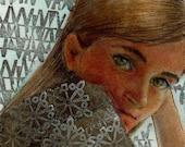 Original Mixed Media Portrait of a Girl in Watercolor and Printmaking Belinda Del Pesco