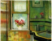Keyhole to Spring - Framed Roomscape Monotype and Pastel Belinda DelPesco