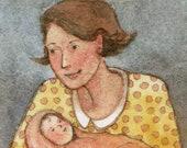 Brand New Baby Original Watercolor of Mother and Baby Miniature Art Belinda Del Pesco