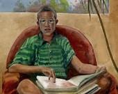 Original Watercolor Portrait Boy Reading Book Lover Painting Belinda Del Pesco