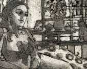 Woman Lounging by a Window with a Cat Original Collagraph Print Art Belinda Del Pesco