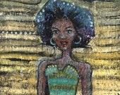 Original Watercolor Monotype Print Woman Rocking a Blue Afro Miniature Art Belinda Del Pesco