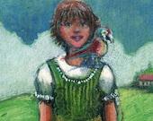 Original Color Collagraph Parrot and his Girl Small Art Print Belinda Del Pesco