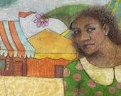 Gelli Print Monotype Printmaking Art with Colored Pencil Girl at the Circus Belinda Del Pesco