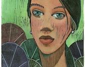 Original Woodcut Manga Style Portrait Hand Colored Print Fantasy Art Lily Belinda Del Pesco
