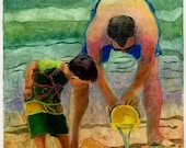 Original Dad Framed Color Collagraph Art - Boy and Man Building Sand Castles at the Beach - Civil Engineers - Belinda Del Pesco