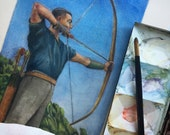 Original Framed Color Drypoint Etching of a 1950's Archer Portrait Art Man with Bow and Arrow Belinda Del Pesco