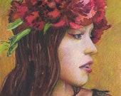 Original Small Watercolor Portrait of a Girl Wearing a Crown of Peonies by Belinda Del Pesco