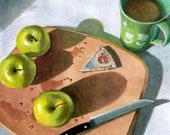 Original Watercolor Painting of Green Granny Smith Apples and Laughing Cow Cheese by Belinda Del Pesco