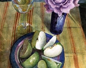 Original Framed Floral Wine and Fruit Still Life Watercolor Painting Art Belinda Del Pesco