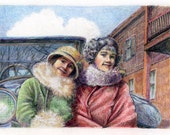 Vintage Portrait of Sisters Gatsby Flappers 1920 Mixed Media Original Monotype Printmaking Belinda Del Pesco
