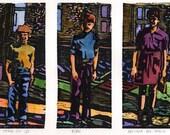 Original Woodcut Print Art Children Siblings Family Belinda DelPesco