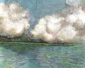 Original Miniature Monotype Print Island Shore Cotton Clouds Art Belinda Del Pesco