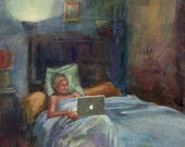 Original Framed Watercolor Painting Portrait of a Girl Reading in Bed Laptop Night Light DelPesco