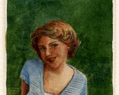 Young Girl on the Lawn Nostalgic Printmaking Original Intaglio drypoint with Watercolor Persuasion Belinda DelPesco