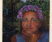 Original Monotype Print Island Girl Portrait with a crown of Flowers Miniature Art Belinda Del Pesco