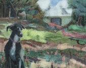Portrait of a Black Dog Original Gelli print monotype Printmaking Landscape Art Belinda Del Pesco