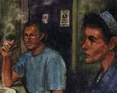 Original Watercolor Cigar Night Cafe in Rome Figure Painting DelPesco