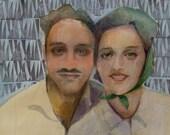 Vintage Valentine's Portrait of a 1940's Couple Original Art Belinda Del Pesco