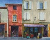 La Maison Rouge Street Scene in Provence France watercolor painting Belinda DelPesco