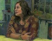 Original Color Monotype Portrait Print with Colored Pencil Chivas Belinda Del Pesco