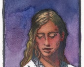 Original Framed Color Woodcut Portrait Watching Flowers Grow Belinda DelPesco