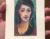 Original Hand Pulled Painted Color Linocut Print Art Miniature Portrait Belinda Del Pesco