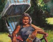 Watercolor Woman Reading Books in the Garden figurative painting Original DelPesco