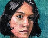 Original Art Miniature Watercolor Portrait Painting of a Young Girl Belinda Del Pesco