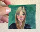 Original Miniature Watercolor Portrait Painting of a big-eyed girl Greta Belinda Del Pesco