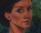Original Framed Watercolor Portrait November Belinda Del Pesco