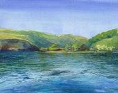 Original Watercolor Painting Secret Island Anchorage Ocean Art Belinda Del Pesco