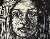 Linocut - Thistle - Portrait of a Girl - Original Print - Belinda Del Pesco