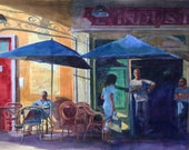Bistrot de l'Industrie -  L'Isle sur la Sorgue Cafe in Provence France Watercolor Painting Belinda Del Pesco