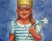 Little Girl wearing a Crown and carrying a Daffodil Original Watercolor Painting Belinda Del Pesco