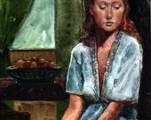 Framed Original Watercolor Painting Figurative Genre Art Remembering a Dream Belinda Del Pesco