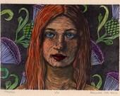 Original Painted Linocut - Portrait Block Print - Framed - Belinda Del Pesco