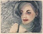 Original Collagraph Portrait Framed Print Woman's Face Belinda DelPesco