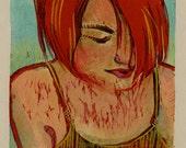 Original Color Woodcut Portrait Printmaking Art Red Headed Woman Carnelian Belinda Del Pesco