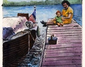 Family Picnic on the Boat Dock Original Color Collagraph Printmaking Art Belinda Del Pesco
