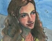 Portrait of a Girl Original Trace Monotype with Watercolor unframed printmaking Art Belinda Del Pesco