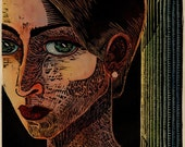 Artemis - Framed Original Color Woodblock Print Portrait of a Woman's Face Mythology Diana - Belinda Del Pesco