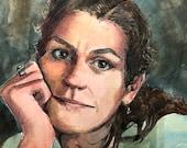 Original Watercolor Portrait of a Woman Pen and Ink Figurative Art Belinda Del Pesco