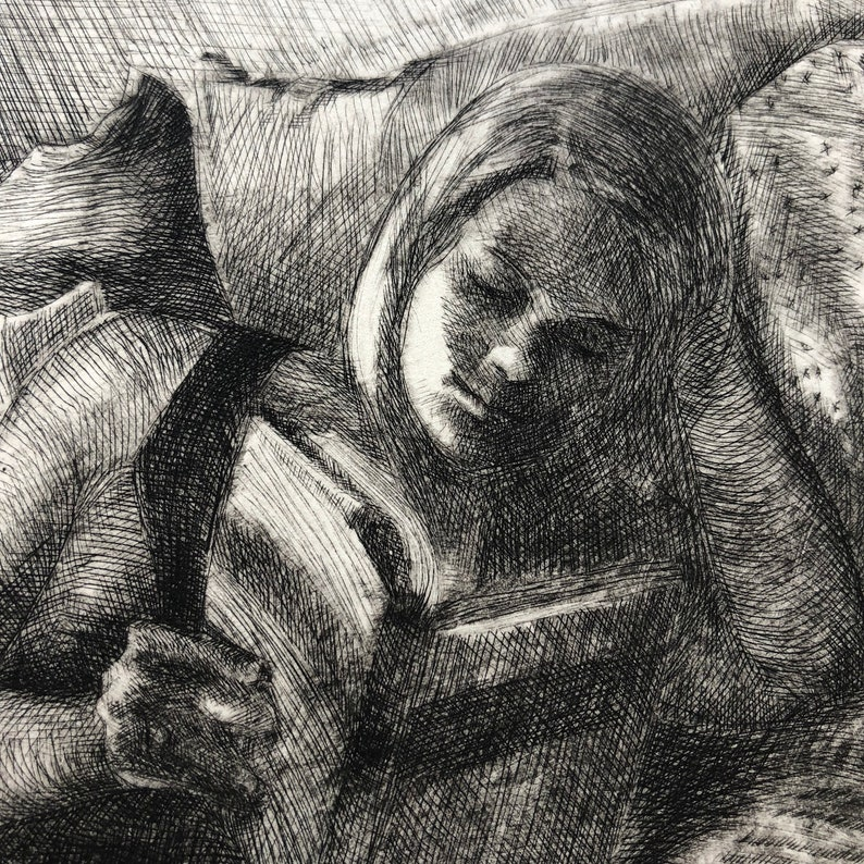 Art Print Woman Reading in Bed Framed Original Drypoint image 0