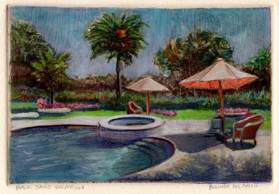 Framed California Landscape of Swimming Pool, Umbrellas and Palm Trees  Original Miniature Monotype Art Belinda Del Pesco