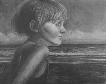 Beach Art Girl Dreaming Listening to the Sea Big Drawing Belinda DelPesco