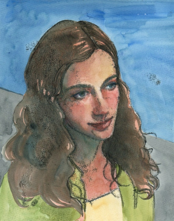 Portrait Of A Girl Original Trace Monotype With Watercolor Etsy