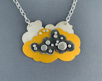 SMaddockDesigns Granulated Cloud with Silver and Anodized Aluminum Necklace Pendant FREE SHIPPING