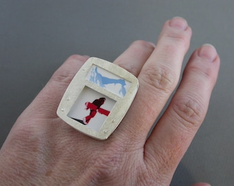 SMaddock OOAK Sterling Silver Layered Window Ring Recycling Snowboarder